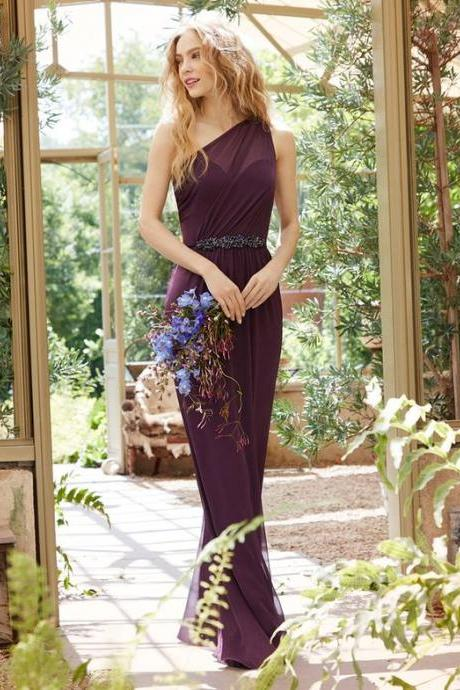 Deep Purple One Shoulder Chiffon Long Bridesmaid Dress with Beading