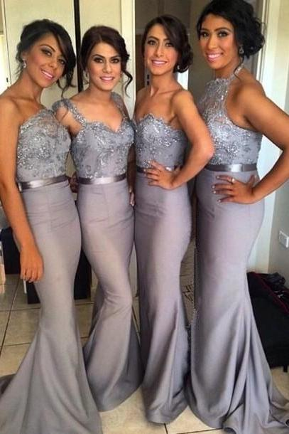 Gray Bridesmaid Dress, Lace Bridesmaid Dresses, Long Bridesmaid Dress, Mismatched Bridesmaid Dress, Unique Bridesmaid Dress, PD0002