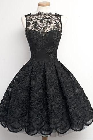 Short Prom Dress, Black Prom Dress, Lace Prom Dress,Junior Prom Dress, Cheap Prom Dress, PD0023