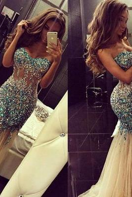 Long Prom Dress, See Through Prom Dress, Mermaid Prom Dress,Cheap Prom Dress, Sexy Prom Dress, PD0060
