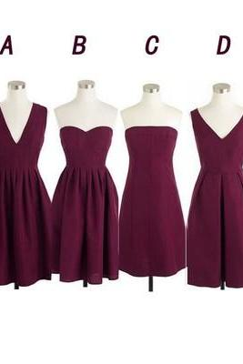 Short Bridesmaid Dress,Maroon Bridesmaid Dresses, Cheap Bridesmaid Dress,Chiffon Bridesmaid Dress, Custom Bridesmaid Dress,PD0070