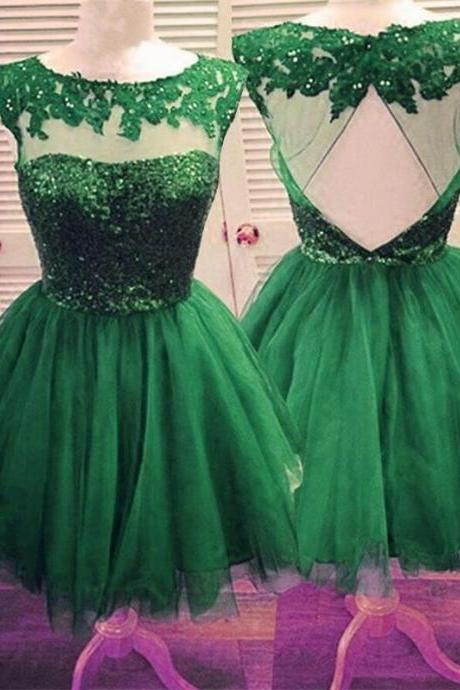 Short Homecoming Dress, Tulle Homecoming Dress,Open back Homecoming Dress ,Junior Homecoming Dress,Sparkly Cocktail Dresses, green homecoming dress,cheap homecoming dressPD0093