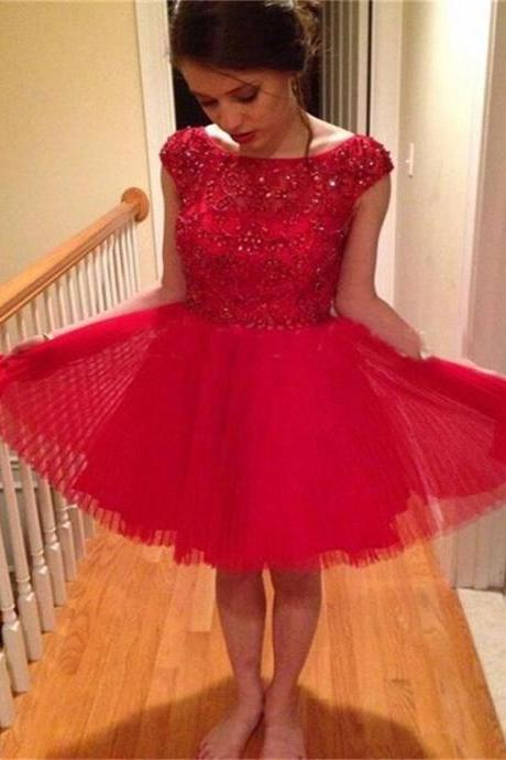 Short custom Homecoming Dress,red homecoming Dresses,beads Homecoming Dress,tulle Homecoming Dress,sparkly Homecoming Dress ,popular homecoming dress,cap sleeve homecoming dress,junior homecoming dressPD00119