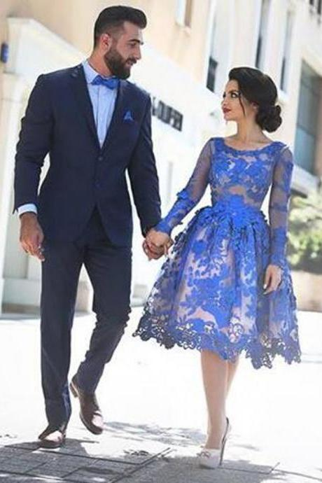 Short custom homecoming dress,Long sleeve Homecoming Dress, see-through Homecoming Dress, gorgeous Homecoming Dress,Prom Dress,Royal Blue Prom DressPD00139