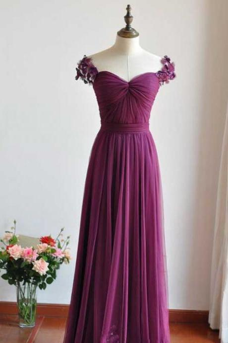 Long bridesmaid dress, chiffon bridesmaid dress, purple bridesmaid dress, cap sleeve bridesmaid dress, high waist bridesmaid dress,dress for wedding,pretty bridesmaid dress,discount bridesmaid dressDP0081