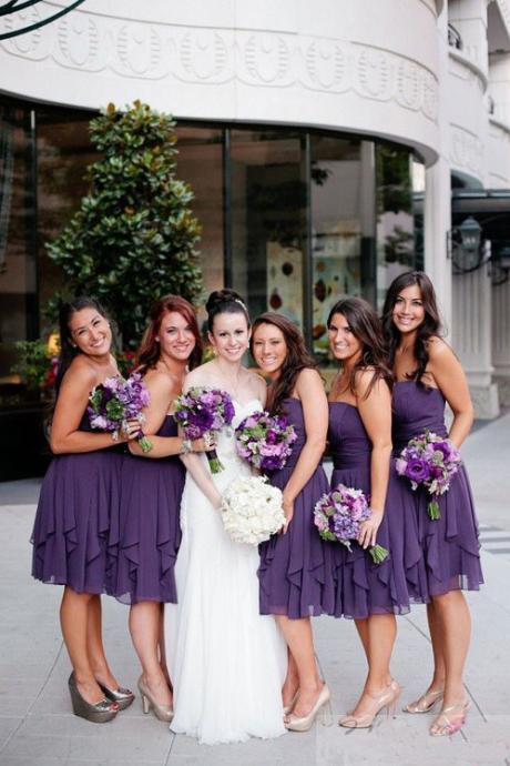 Short Custom Bridesmaid Dress,purple bridesmaid dress, strapless bridesmaid dress, simple bridesmaid dress,hot bridesmaid dress,chiffon bridesmaid dress,neutral bridesmaid dress,dress for weddingPD00111