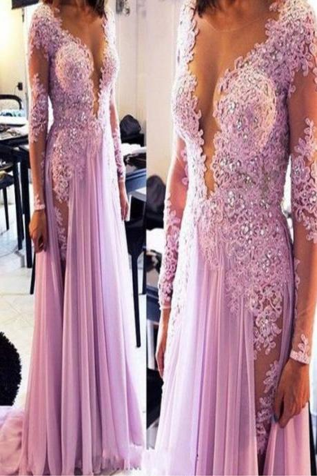 Long Custom Prom Dress,purple prom dress,long sleeve prom dress,prom dress with lace,see-through prom dress,sexy prom dress,vintage prom dress,elegant prom dress,formal prom dress,evening dress gown PD008158
