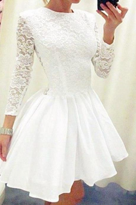 Short Homecoming Dress,White homecoming dress,homecoming dress with long sleeve,lace homecoming dress,Tight homecoming dress,Simple homecoming dress,homecoming dress2016PD0080192