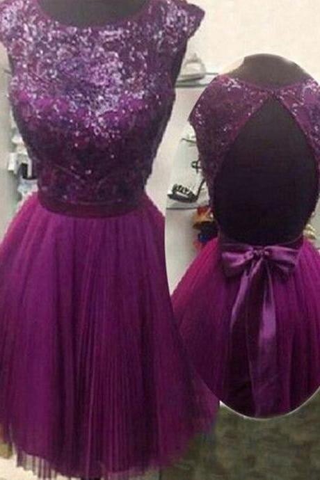 Short Homecoming Dress,Purple homecoming dress, Cap sleeve homecoming dress, Sparkly homecoming dress, Open Back homecoming dress, Bowknot homecoming dress, cute homecoming dress.PD008361