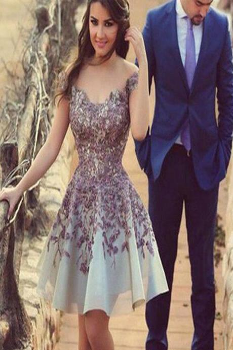 Short Custom Homecoming Dress,Gorgeous homecoming dress ,Dress with purple appliques, A-line homecoming dress, Dress for teens, Casual dress, Affordable dress.PD0080706