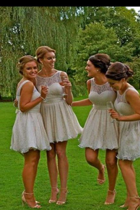 Short Bridesmaid Dress,Grey bridesmaid dress, Bridesmaid dress with lace, Mini bridesmaid dress, Cute bridesmaid dress, Cheap bridesmaid dress, dress for wedding.PD0080504