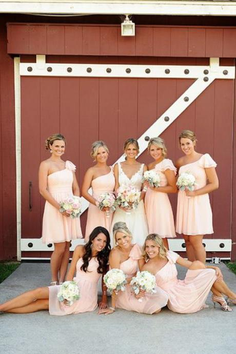 Short Bridesmaid Dress,Pink chiffon bridesmaid dress, One shoulder bridesmaid dress, Simple bridesmaid dress,Elegant bridesmaid dress, Knee length bridesmaid dress, Affordable bridesmaid dress.PD0080505