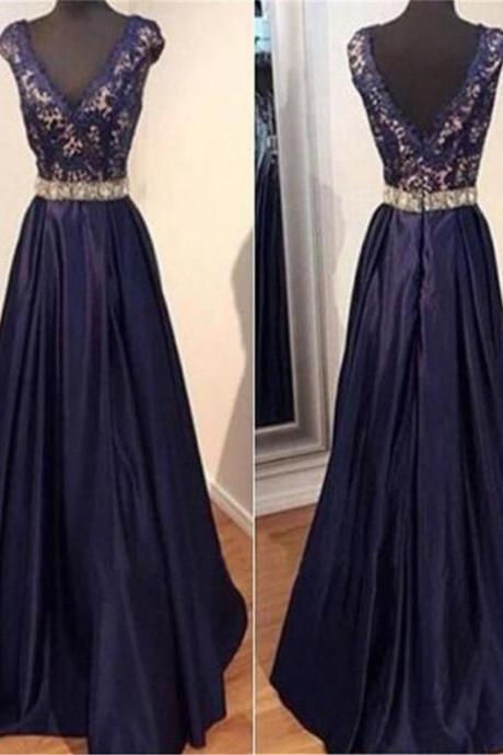 Long Custom Prom Dress,Blue prom dress, V-neck Prom dress, V-Back prom dress, Ball Gown dress, Elegant prom dress, Lace prom dress, Evening Party dress, Cocktail dress..PD0098