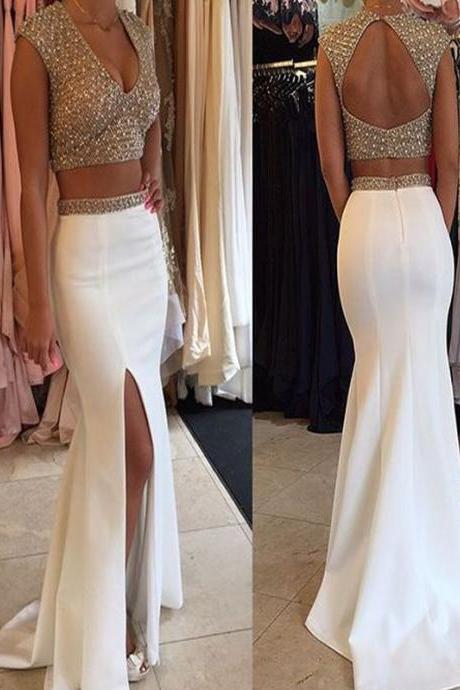 Long Custom Prom Dress,Two Pieces Prom dress, Cap Sleeve Prom dress, Vintage prom dress, Open Back prom dress, Prom dress with slit, Mermaid prom dress, Charming prom dress.PD01204