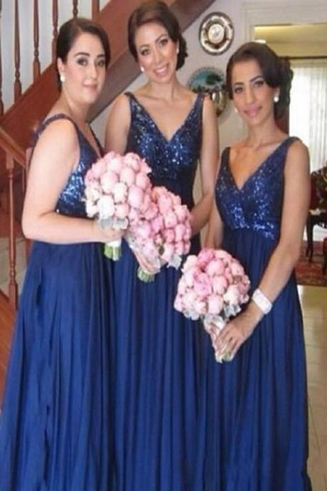Long Blue Sequin bridesmaid dress, V-Neck bridesmaid dress, Dress for Wedding party, Elegant bridesmaid dress, Charming bridesmaid dress, 2017 bridesmaid dresses. PD01326