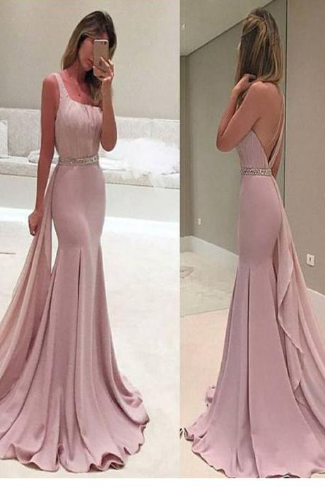Long Custom Prom Dress, Pink prom dress, One shoulder prom dress, Mermaid prom dress, Simple prom dress, Unique style prom dress, Charming prom dress, Elegant prom dress, Dress for prom gown. PD013526