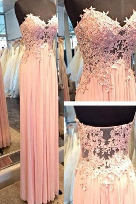 Long Custom Prom Dress, Pink Strapless prom dress, Charming Prom Dress ,Sweetheart Prom Dress,Appliques Prom Dress,See-through Prom Dress,Sexy Prom Dress ,Long Prom Dress,Chiffon Prom Dress,Wedding Party Dress,Evening Dress ,Formal Dress ,Prom Dress Plus Size ,Cheap Prom Dress. PD01109