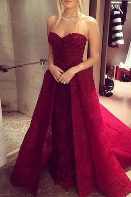 Burgundy prom dress, Prom dress with straps, Ball gown, Sweetheart prom dress, Pretty Prom Gown, Formal dress, Evening party dress, charming prom dresses PD0120112