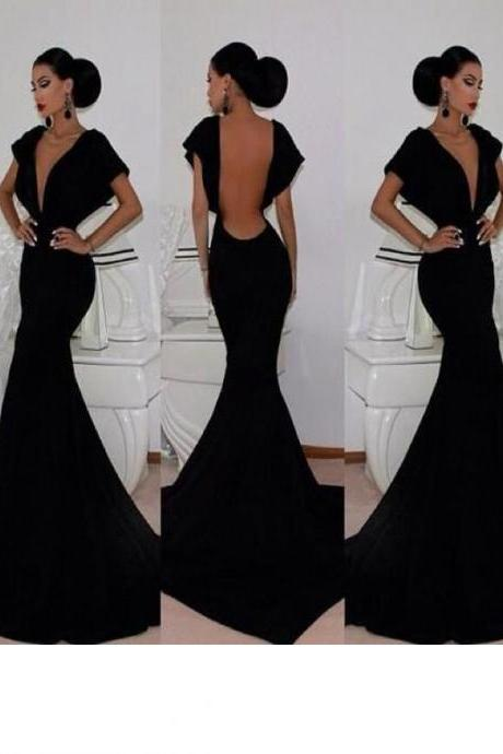 Long Custom prom dress,2017 Black Velvet Mermaid Prom Dresses Deep V-neck Open Back Cap Sleeves Long Sexy Evening Gowns. PD012166