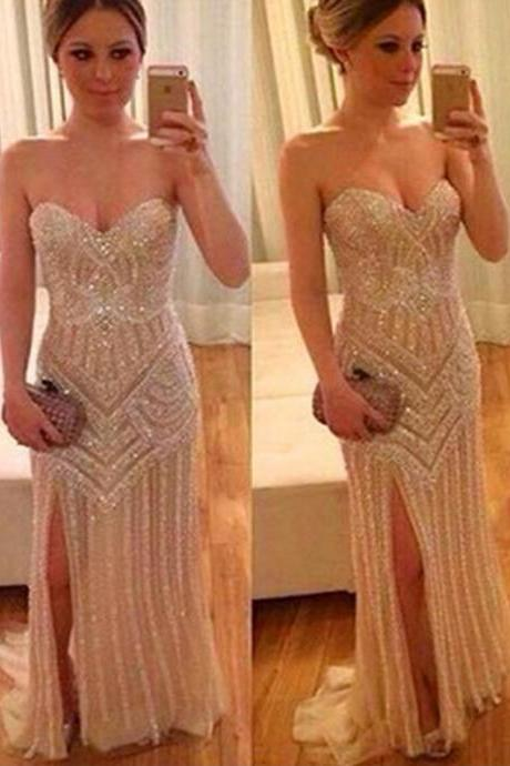 Long Custom prom dress,Pretty Sequin Shiny Prom Dresses,Sparkly Prom Gowns,Sweetheart Beading Prom Dresses,Modest Evening Gowns,Front Split Prom Dress. PD0121096