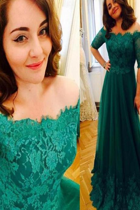 Princess Green 2017 Lace Prom Dresses, Short Sleeve Prom Dresses, A Line Prom Dresses, Tulle Prom Gowns, Vintage Plus Size Evening Formal Dress,Long Prom Gown . PD01201153