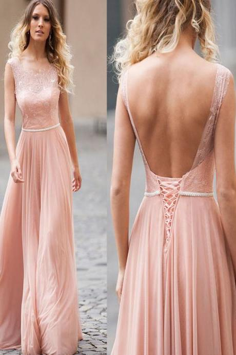 Long prom dress, Peach pink prom dress,Prom Dress Lace,Floor Length prom dress, Open Back prom dress, Elegant prom dress, Prom Dresses,PD015047