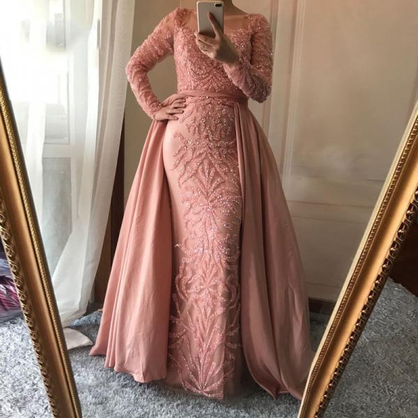 Dusty Pink Prom Dress,Detachable Prom Dress,Mermaid prom Dresses, Gorgeous Beading Prom Dress,Charming Prom Dress,Long Sleeve Prom Dress,Evening Party Dress,PD1709