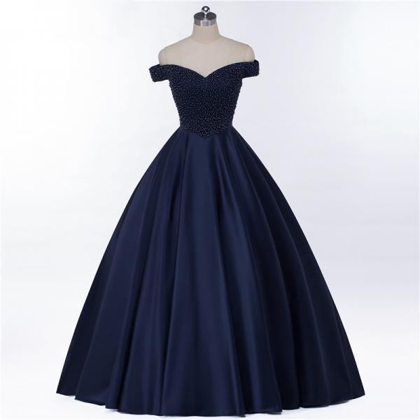 Off Shoulder Prom Dress,Navy Prom Dress,Short Sleeve Prom Dress,Ball Gown Prom Dress,Evening Party Dress,Charming Pearl Prom Dresses,Formal Prom Dresses, PD1711